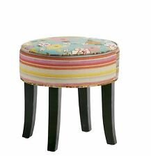 Hocker Sitzhocker Stoff Patchwork Füße Kolonial Möbel French Style 07.001.01