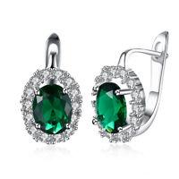 18K White Gold Plated Geo Green Swarovski Crystal Stone Latchback Earring
