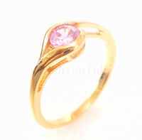 Simulated Diamond Flower Ring Yellow Gold 14K18K Plated