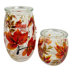 Yankee Candle Autumn Leaves Crackle Tea Light Holder Set