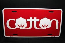 COTTON NOVELTY LICENSE PLATE TAG FOR CARS AND TRUCKS ALUMINUM METAL RED