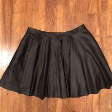 2e2ccdfc0 (D98) Harper Greene Vegan Leather Skirt Small Black Twirl Mini Faux Flounce