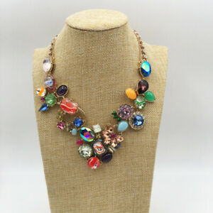 BETSEY JOHNSON BOARDWALK SWEETS MULTI COLORED CRYSTAL FLOWER STATEMENT NECKLACE