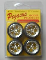 CHROME PHAT DADDY RIMS w TIRES PEGASUS 1:24 1:25 CAR MODEL ACCESSORY 2303