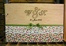 engraved A4 wood wedding guest book or photo album, fabric and lace personalazed