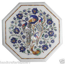 1'x1' Marble Coffee Table Top Lapis Peacock Inlay New Year Eves Home Decorative