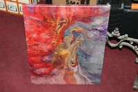 Original Abstract Art Painting Acrylic Trippy Angel Swirls Signed Marbach 2005