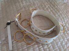 * Neuf * AUTHENTIQUE DOLCE & GABBANA blanc/or cuir Hoop ceinture... pour femme