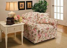 """JERSEY CHAIR COVER SLIPCOVER- """"STRETCH""""------PINK FLORAL----10 SOLIDS & 3 PRINTS"""