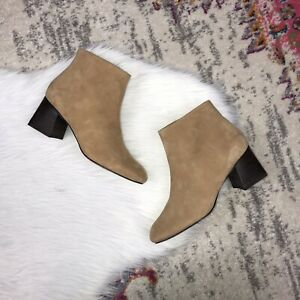Farylrobin Anthropologie Women's Size 8.5 Square Toe Tan Suede Ankle Boots New