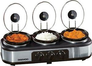 Daewoo 3 x 1.5L Triple Slow Cooker 3 Individual Heat Pot 300W NON-STICK CERAMIC