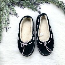 L.L Bean Moccasin Fuzzy Bedroom Slipper Logo Womens Size 5