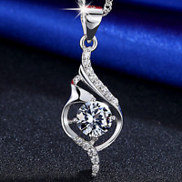 Fashion White Crystal Chain 925 Sterling Silver Pendant Necklace Women's Jewelry