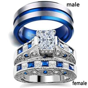 Couple Rings Blue Plated Tungsten Mens Wedding Band CZ Women's Wedding Rings