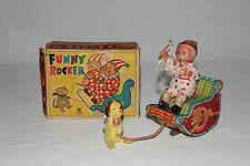 Bandai Japan Tin Litho & Celluloid Pull String Funny Rocker Clown Monkey & Box