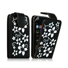 Housse coque étui pour Apple Ipod 4G couleur noir avec motifs fleurs + film prot