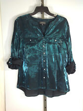 Womens Shirt Size XL Elementz Solid Quarter Sleeve Mandarin Collar Shiny Button