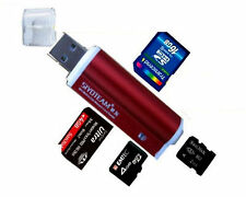 ROT Mini Alu Kartenleser USB Micro SD MMC SDHC M2 Card Reader Adapter WIN/MAC