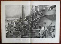 US Warships Japanese workers women US Navy Nagasaki harbor 1900 great old print