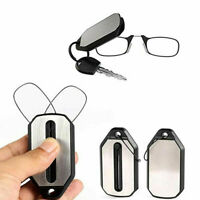 Mini Portable Foldable Clip Nose Reading Glasses Unisex Keychain With Case