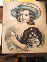 ANTIQUE VICTORIAN CHILD GIRL Cocker King SPANIEL DOG Hat Colored PRINT