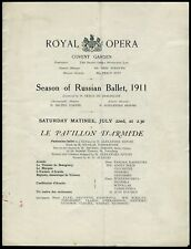 Waslaw NIJINSKY, Tamar KARSAVINA: 1911 Covent Garden BALLETS RUSSES Program
