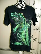 Iguana Black & Bright Green Reptile Lizard T-Shirt by Habitat All Over Print Med