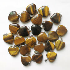 Fashion 20mm natural tiger eye stone charms heart pendants for jewelry 50pcs/lot