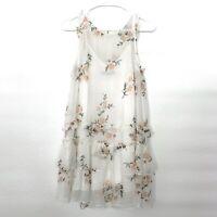 Abercrombie & Fitch Dress Womens XS White Floral Print Sleeveless Ruffle Mini