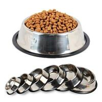 Stainless Steel Anti Skid Pet Puppy Dog Cat Feeder Feeding Foods Water Dish Bowl