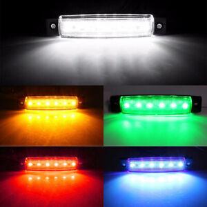 10pcs 6 LED Side Marker Indicators Light Trailer Truck Lorry Lamp Waterproof 12V