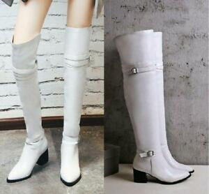 Sexy Over Knee Thigh Boots Pointed Toe High Heel Women's Knight Shoes US4.5-10