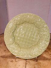 "Bordallo Pinneiro Round 13"" Green Leaf & Lattice Serving Platter Portugal ~ EUC"