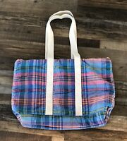 Eddie Baur Plaid Tote Bag Pink Blue Tan Strap Shoulder Handbag Vintage  Used