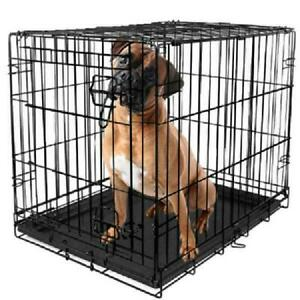 """Dog Crate Kennel 48"""" Folding Pet Cage Metal Single Door Tray Pan Divider NEW"""