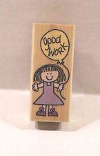 Hero Arts HeroKids Good Work Girl with Balloon Wood Mounted Rubber Stamp D1683