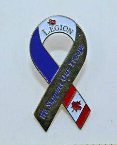 Royal Canadian Legion Canada We Support Our Troopers Flag Pinback Pin Button