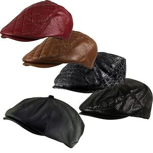 Quitted Dots Flat Faux Leather Golf Cabbie Baker Boy Ivy Newsboy Cap Hat