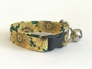 SUNFLOWERS  PRINT CAT OR KITTEN COLLAR (you choose the size)