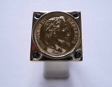 Seal ring gold square with piece Gold 20 Francs Napoleon and Sapphires