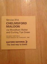 Eastern National Timetable Mini Leaflet Route 31A/B Chelmsford - Maldon Feb 1981