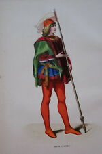 GRAVURE COULEURS-JEUNE VENITIEN VENISE-COSTUMES MOYEN AGE 1847-ANTIQUE  PRINT