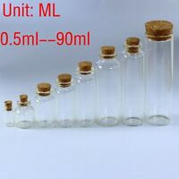 0.5ML~90ML Clear Glass Bottles Small Vials Jars Sample Empty Wholesale w/ Corks