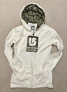 Women's Burton Snowboards Logo Hoodie Sweatshirt White/Green Plaid Sz Small