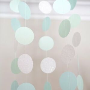 Pearl White Mint Green Blue Circle Dots Paper Garland 10 Ft Party Home Decor
