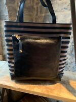 Sonia Rykiel Dauphine Black Leather and Canva Tote