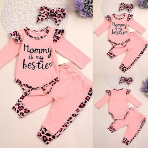 Newborn Baby Girls Printed Romper Tops Jumpsuit Outfits Clothes Pants Headband
