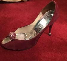 Vintage 80's Charles Jourdan Ball Disco Suede Rhinestone Pump Shoe Burgundy
