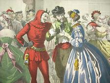 1865 Bal travesti diable costumes et fêtes ap Jules David  Réville gravure