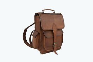 Leather Backpack Bag 13 In Laptop Rucksack College School Book Shoulder Handbags